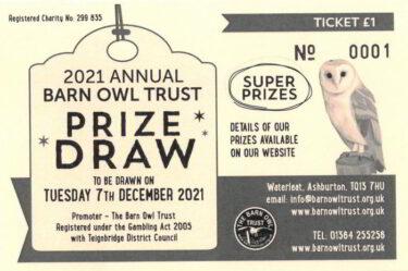 2021 barn owl trust prize draw ticket