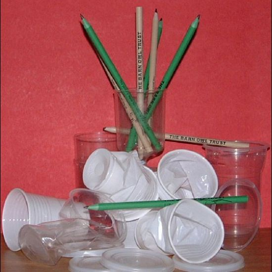 Barn Owl Trust Plastic Pencils With Plastic Cups