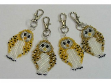 Beaded Owl Keyrings Spring Clip 4
