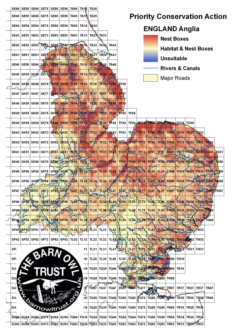 Barn Owl habitat suitability map for East Anglia