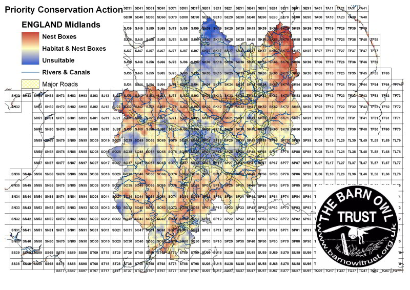 Barn Owl habitat suitability map for the Midlands