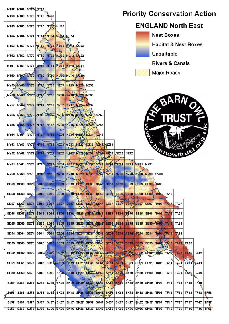 Barn Owl habitat suitability map for North East England