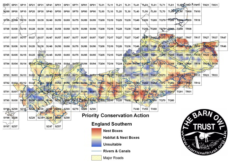 Barn Owl habitat suitability map for Southern England