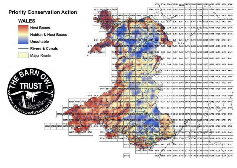 Barn Owl habitat suitability map for Wales