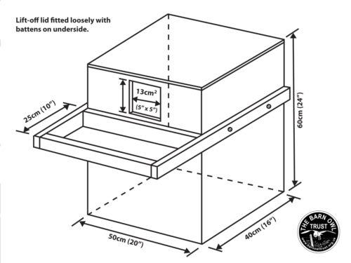 Indoor nestboxes diagram dimensions