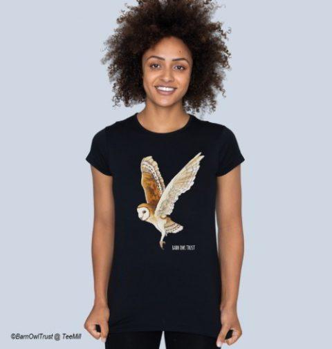 Womens Black Barn Owl T Shirt
