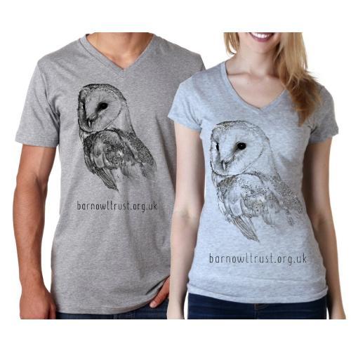 Barn Owl Print V neck T shirt - The Barn Owl Trust bd1a92aa7ce69