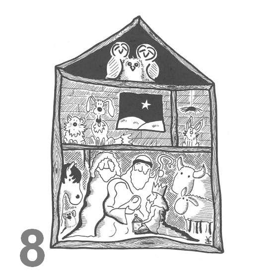 Barn Owl Trust Nativity A6 Black & White Card