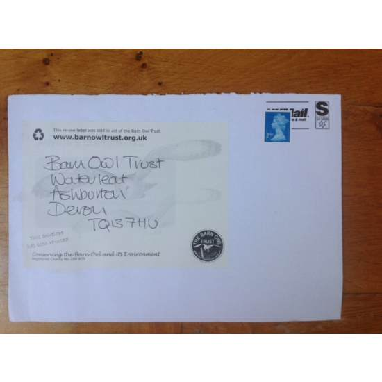 Barn Owl Trust Re Use Label On Envelope