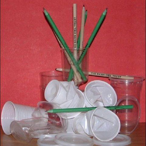 Barn Owl Trust Plastic Pencils With Plastic Cups