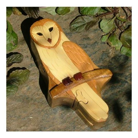 Barn Owl Wooden Puzzle Box Complete