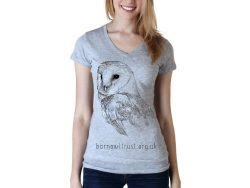 Barn Owl Print Vneck Womens