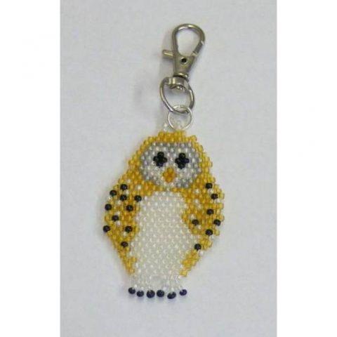 Beaded Owl Keyring Spring Clip