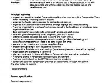 job description and person spec the barn owl trust