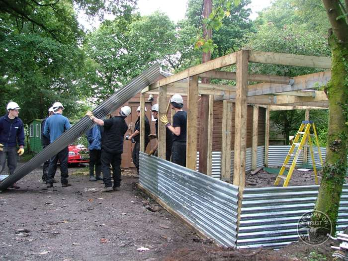 Aviary Building Corrugated Wall Sheets The Barn Owl Trust